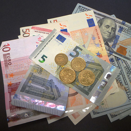 Euro currency cash and coins