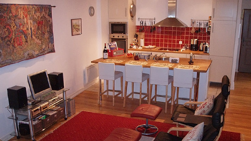Living Room dining area kitchen in vacation rental Burgundy France