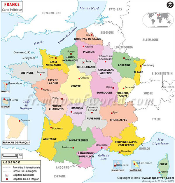 Map of France with French names for states and capitol cities